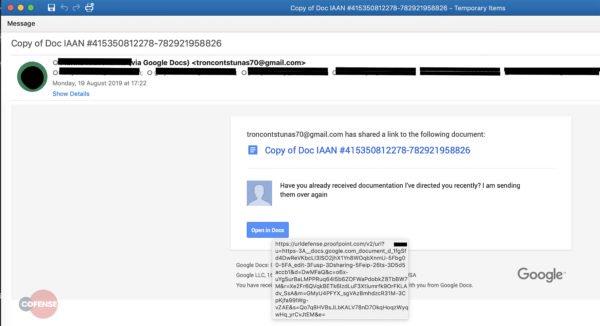 Google Docs malspam