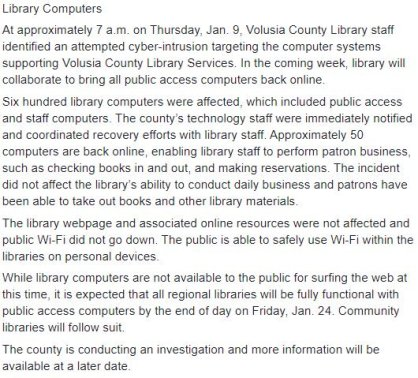 Volusia County Public Library hack