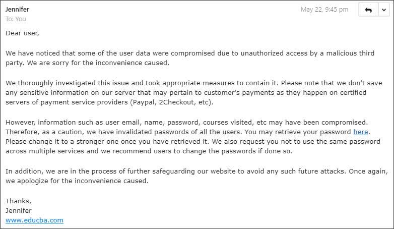 EduCBA data breach