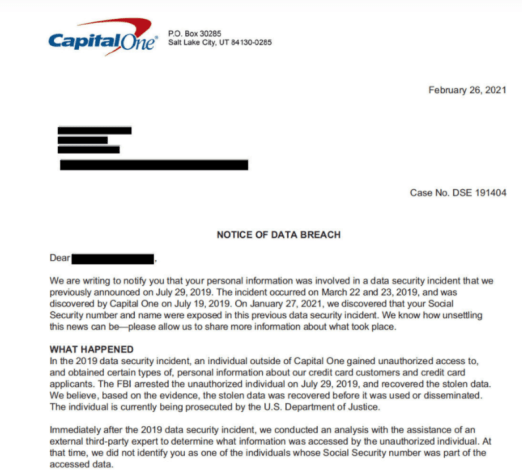 Capital one data breach notice 2