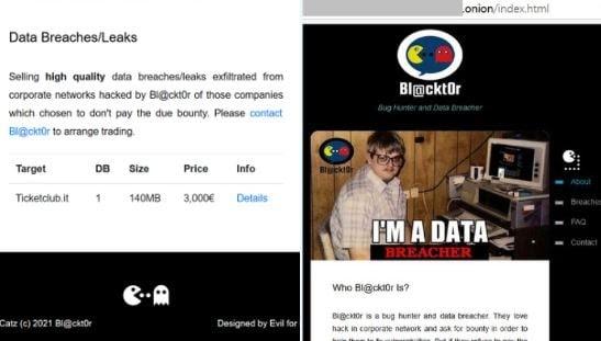 TicketClub Italy Database Offered in Dark Web
