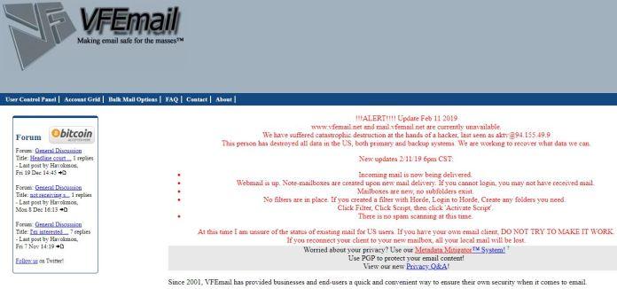 VFEmail thông báo chính thức vì cuộc tấn công và trạng thái khôi phục của hệ thống