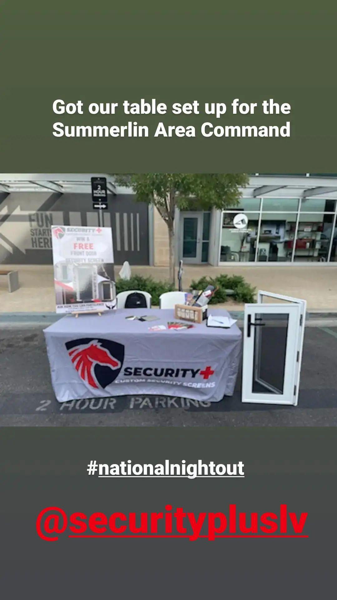 Security Plus' booth at Summerlin Town Center National Night Out Oct 2021