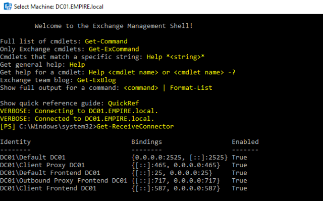 Exchange Managment Shell GET-RecieveConnector