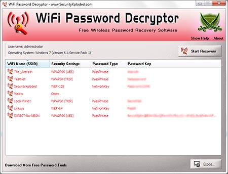 WiFiPasswordDecryptor showing recovered passwords