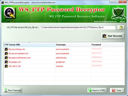 WS_FTPPasswordDecryptor showing recovered passwords