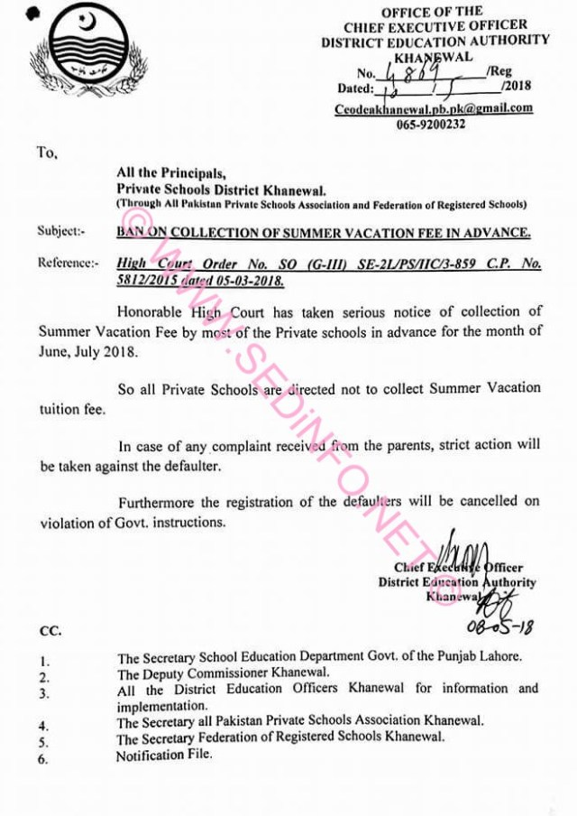 Schools Advance Fee Ban Notification 2018