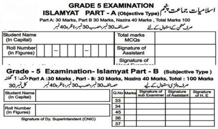 5th Class Islamiyat PEC Full Book Notes Test Download