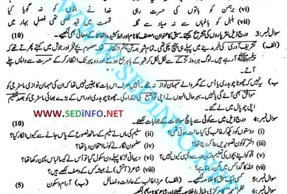 9th Class Urdu Past Papers BISE Faisalabad
