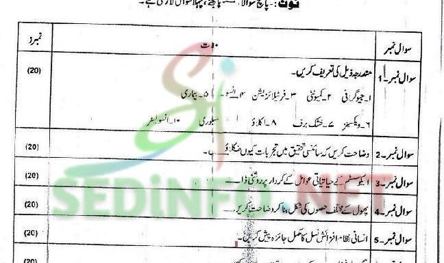 Code 203 Spring 2016 AIOU Past Papers
