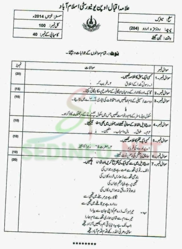 Urdu Code 204 Autumn 2014 AIOU Past Papers