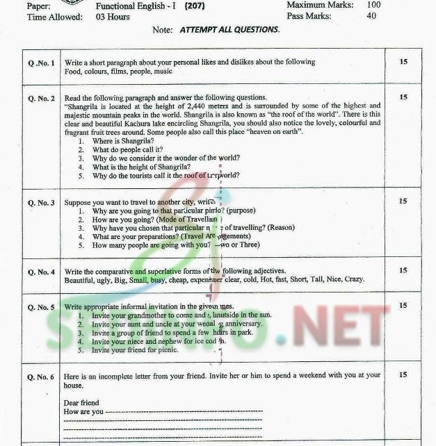 English 1 Code 207 Autumn 2014 AIOU Past Papers