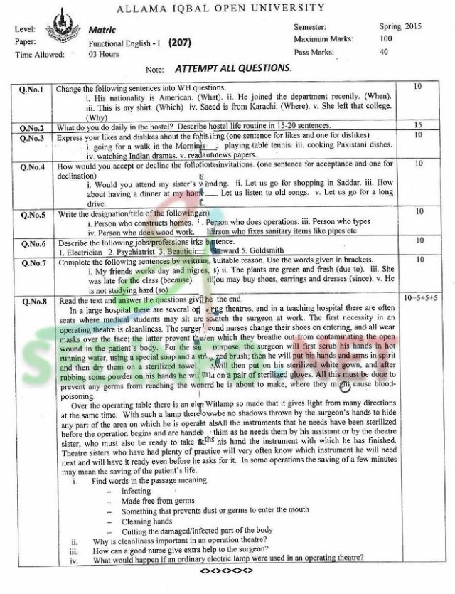 Code 207 Spring 2015 AIOU Past Papers