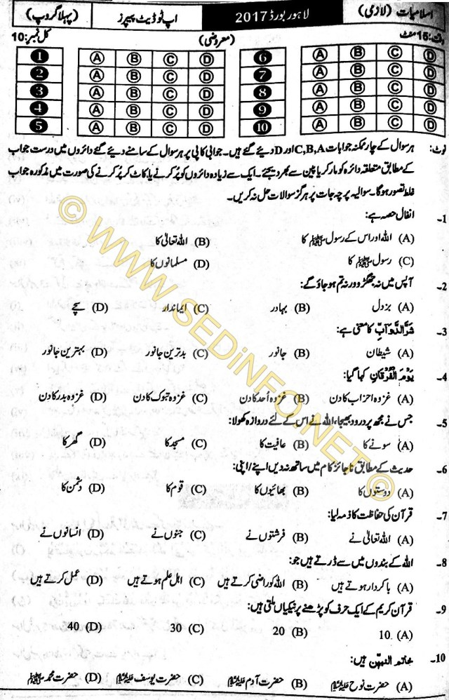 Lahore-Board-Past-Paper-Objective-2017