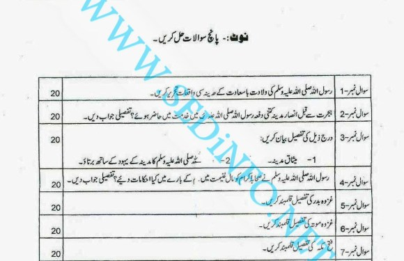 Code 242 Matric AIOU Past Papers A2014