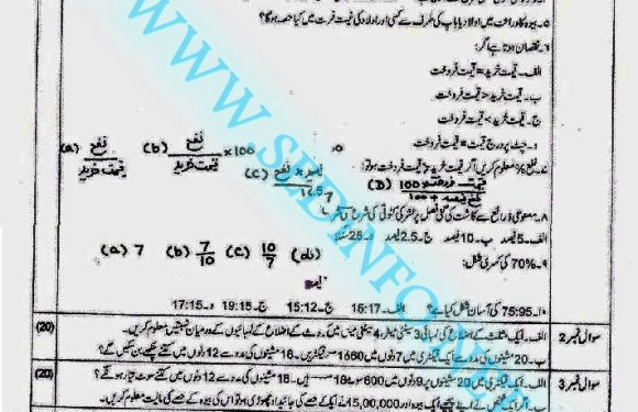 Code 247 Matric AIOU Past Papers S2014