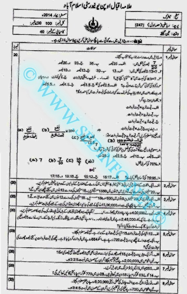 Matric-Code-247-AIOU-Past-Papers-Spring-2014
