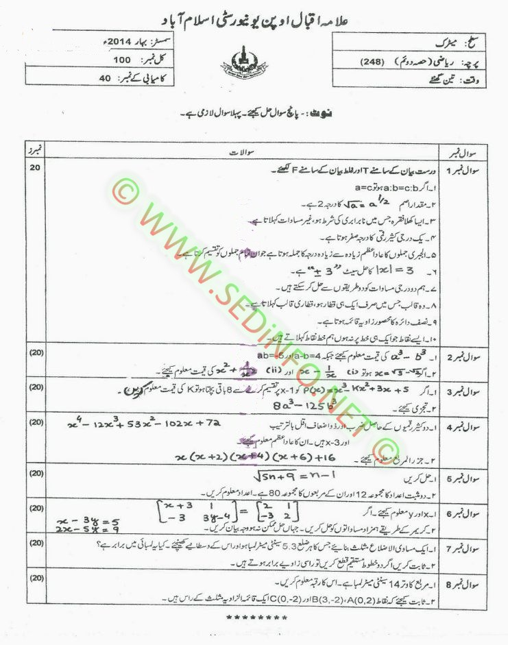 Code 248 Matric AIOU Past Papers S2014