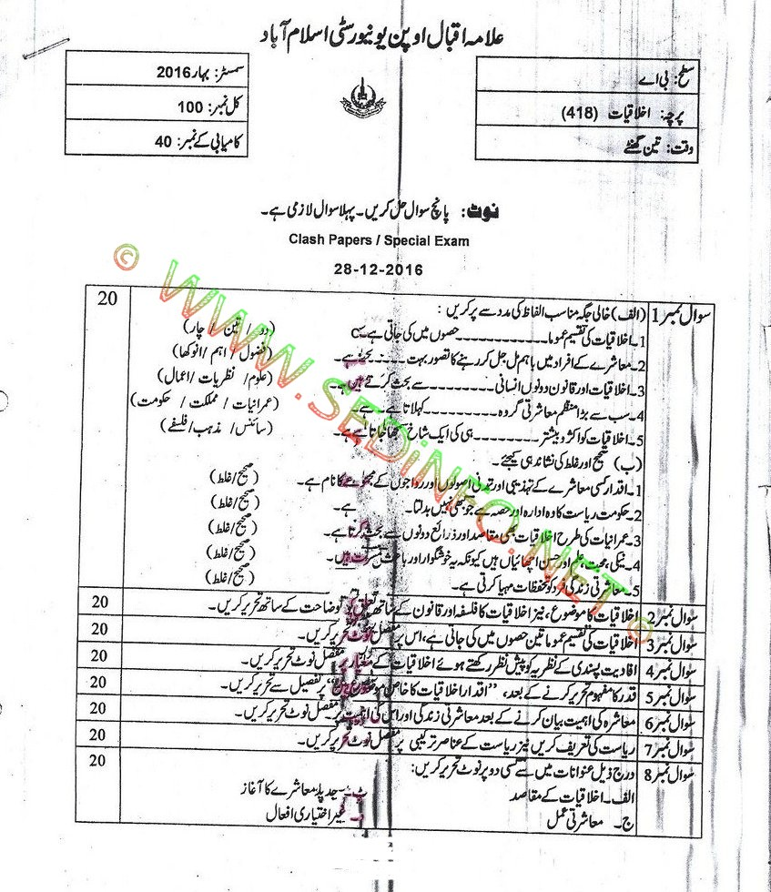 AIOU BA Code 418 Past Papers Spring 2016