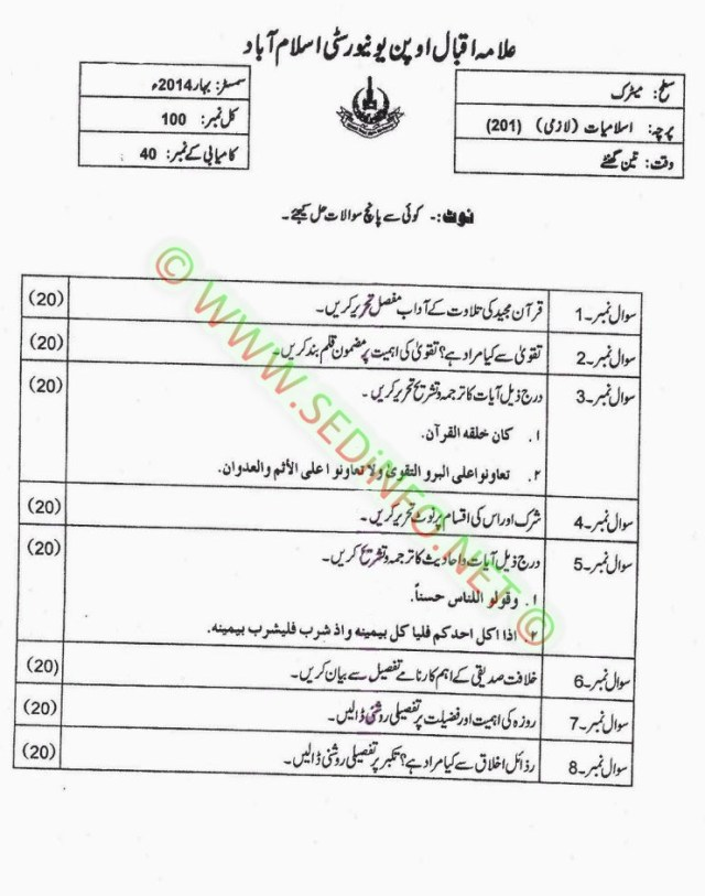 AIOU-Matric-Code-201-Past-Papers-Spring-2014