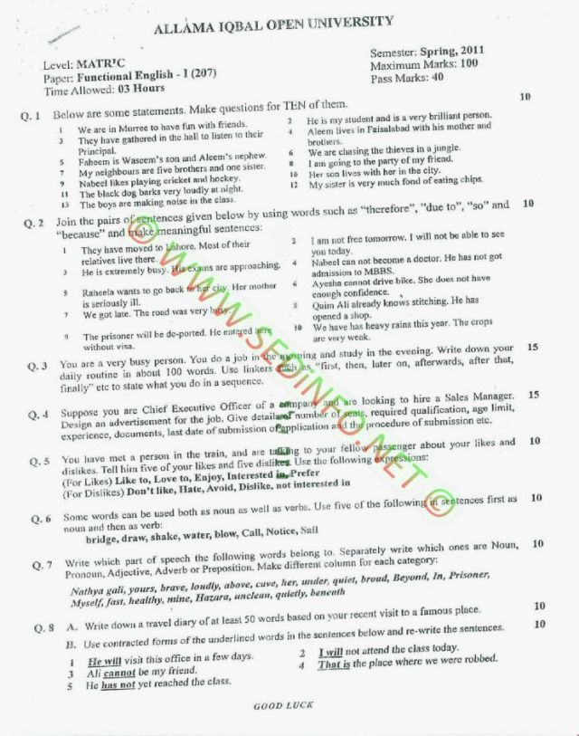 AIOU-Matric-Code-207-Past-Papers-Spring-2011
