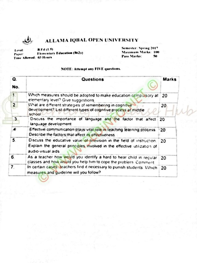 AIOU-Past-Papers-BEd-Code-8623-Spring-2017