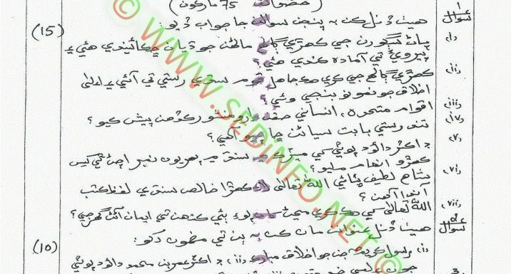 AIOU Matric Code 213 Past Papers Spring 2014