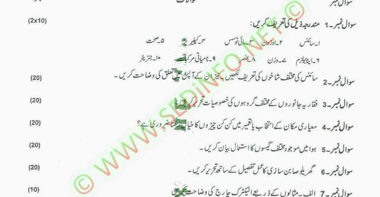 AIOU Matric Code 203 Past Papers Autumn 2013
