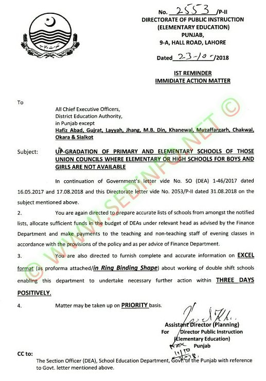 Up Gradation of Primary and Elementary Schools Notification