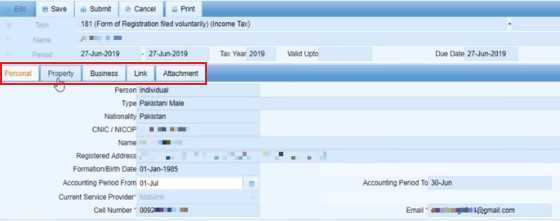 Adding information in 181 registration form for businessmen