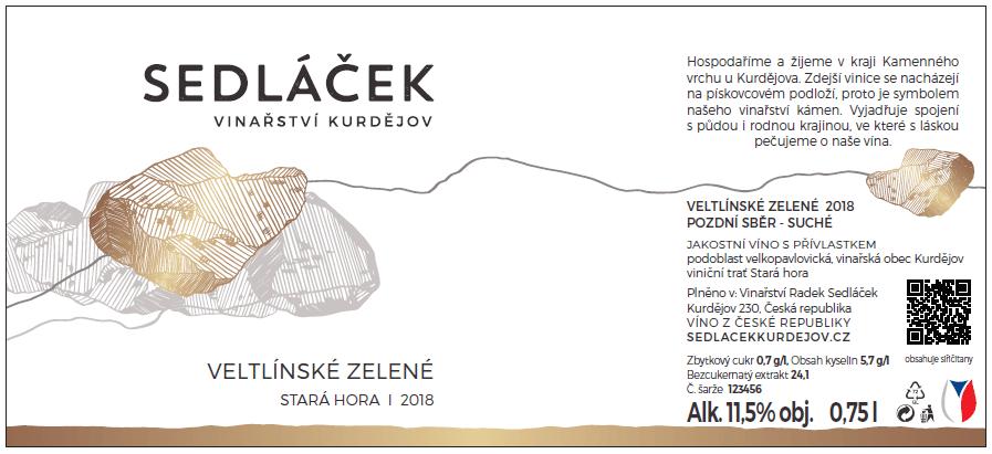Etiketa navíno Sedláček vinařství Kurdějov