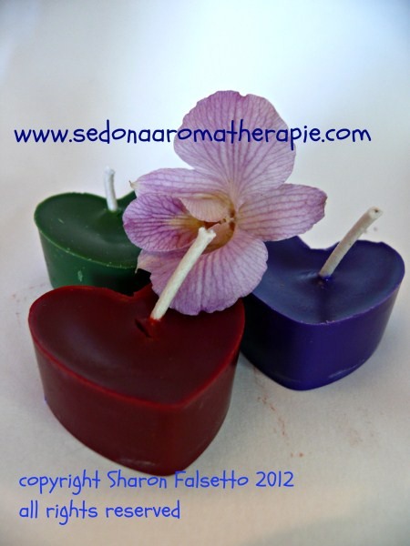 Aromatherapy floating heart candles, copyright Sharon Falsetto, all rights reserved