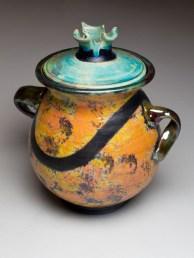 Pot With Attitude is raku art by Luke Metz, in Sedona, Arizona