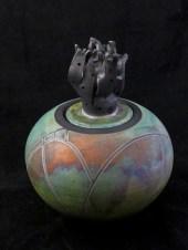 Award winning Hyrda is raku art by Luke Metz in Sedona, Arizona