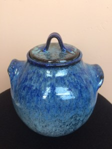 Ken Barnes Ceramic Blue Storage Jar