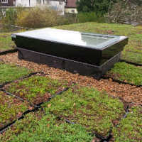 essex3. S.Pods or modular trays, being laid ready for a Sedum Green Roof