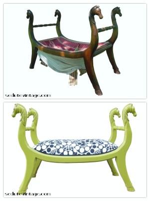 Panchetta teste di cavallo - Horse sofa bench