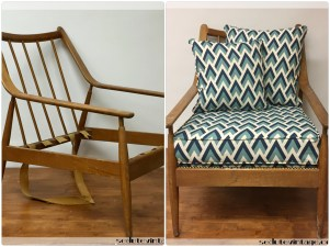 Poltroncina anni 50 geometrico - Geometric fabric for 1950s armchair
