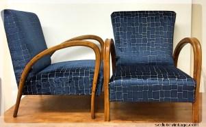 Coppia anni 20 tasselli velluto blue - 1920s asymmetrical velvet blue tiles