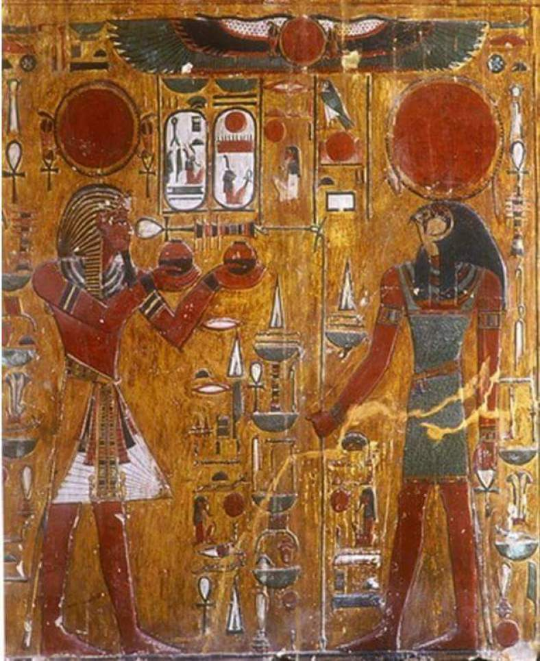 "King Seti with God ""Horus"""