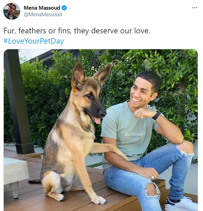 "Mena Massoud celebrates with ""Love Your Pet Day"