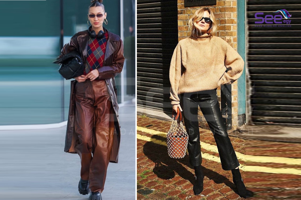 Fashionable wide leather pants