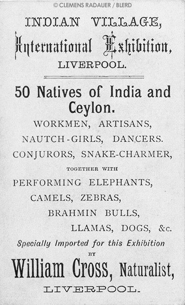 1886: Ad for the International Exhibition in Liverpool on natives of India and Ceylon