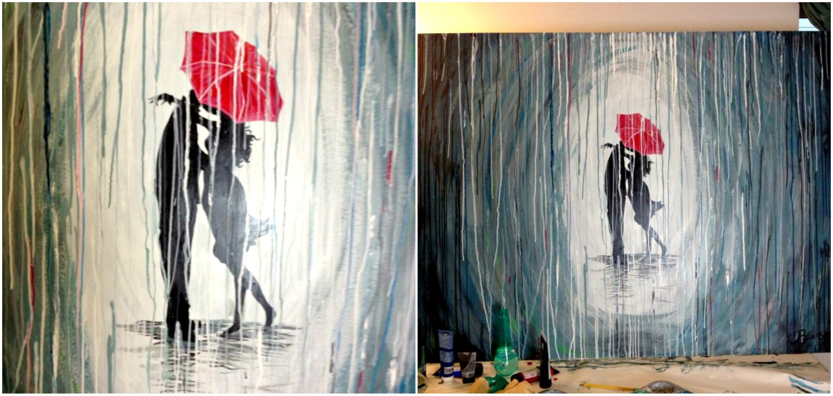 How to Paint a Rainy Day Scene with Acrylics | Easy Wall Art