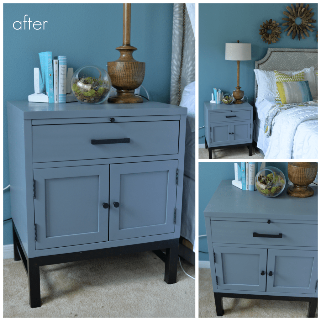 grey painted nightstand