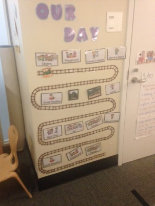A wall located in a PreK 4 class outlining the day's schedule.