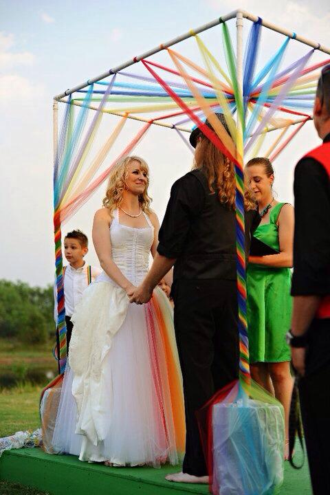 Custom Rainbow Wedding Dress Asymmetrical Cascading Fabric Original Design by Jai Lynn Sovereign custom designs