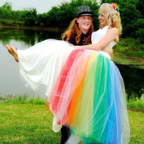Custom Rainbow Wedding Dress Original Design by Jai Lynn Sovereign Happy Couple Happy Client custom designs