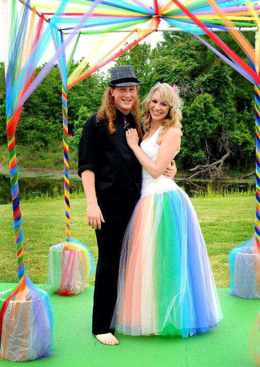 Rainbow Wedding Dress Original Design by Jai Lynn Sovereign Couple at the Altar custom designs