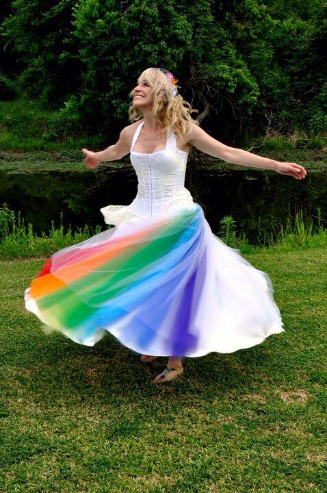 Rainbow Wedding Dress Original Design by Jai Lynn Sovereign Twirling Colors custom designs